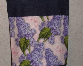 New Small Handmade Lilac Floral Pink Background Denim Tote Bag
