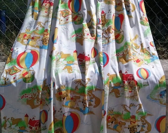 Vintage 1970s Curtains Winnie the Pooh 70s Drapes Set of 2 35 x 60 inches