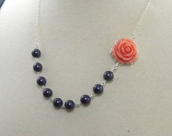 Coral Navy Blue and Silver Flower Bridesmaids Wedding Necklace