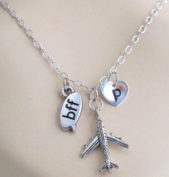 Airplane Necklace, Bff Necklace Best Friends Forever Jewelry Necklace airplane charm, travel necklace, relationship  Free Shipping USA