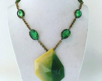 Acid Green pendant necklace
