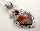 Crazy Lace Agate Heart & Rose Cut Garnet Necklace - Red Valentine - Handmade Sterling Silver Pendant