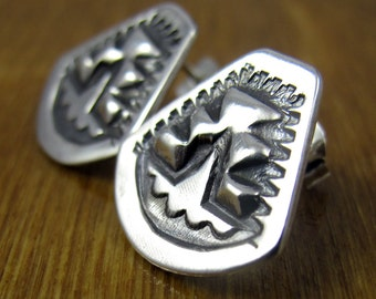 Sterling Silver Post Earrings - Stamped Repoussé - Native American Navajo Tooling - Southwestern Earrings