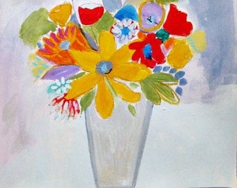 Original painting on watercolor paper, Flowers, still life
