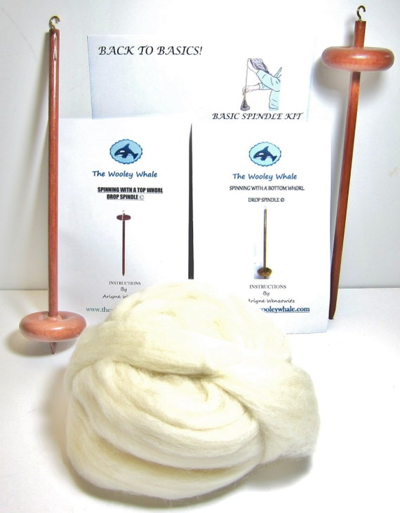Double Drop Spindle Basic Spinning Kit With Both Top and Bottom Whorls