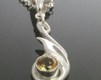 Golden Citrine Pendant. Sterling Silver Necklace. Abstract Shape. Genuine Gemstone. November Birthstone. f13p008