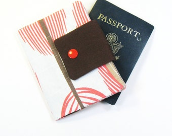 Travel Passport Holder / Passport Wallet / Passport Case - Coral Peacock Feather