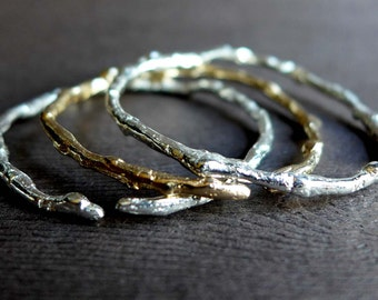 Textured Twig Thin Cuff Bracelet, Cast Sterling Silver Bronze Stackable Twig Bracelets, Twig Artisan Bracelet, Winter Branches Jewelry