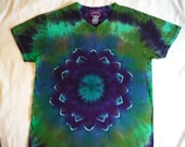 Custom order for Cam - V-Neck tee purple and green dahlia flower mandala tee