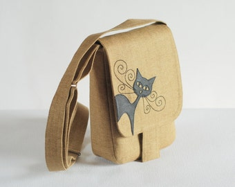 Small linen messenger bag with cat
