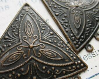 Embossed Brass Triangle Earring Chandelier Findings in Black Patina - 1 pair