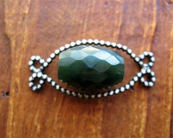 Soldered, Scrolled, Antiqued Sterling Silver Bead Frame  with Faceted Jade Bead