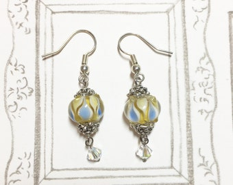 Beautiful Lampwork Glass Bead Earrings (Yellow Vs Light Blue), Glass Earrings, Christmas Gift, Gift for mom, gift for her