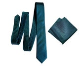 Dark Teal Silk Necktie. Pocket squares available too! Elegant woven herringbone silk tie. Peacock blue shift in the light! Men's silk tie.