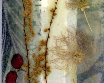 Encaustic artwork, collage painting, mixed media art, dried flowers, pressed flowers, home decor, affordable art, small painting