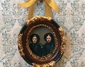 Creepy Victorian era women twins framed photo  for dioramas or dollhouses 1/6  1/12  or 1/16 scale