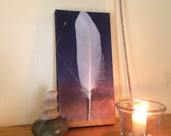 Wings of Shekhinah - Original Mixed Media Art on Canvas - OOAK - Ethically Foraged Ibis Feather - Judaica Spiritual Art
