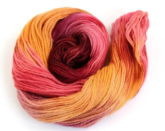 Hand dyed British breed wool DK, double knitting Falkland Corriedale light worsted crochet yarn skein, Perran Yarns, Sunset Party red orange