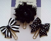 Black Flower, Bows Planner Clips, Bookmark, Planner Accessory, Paper Clip