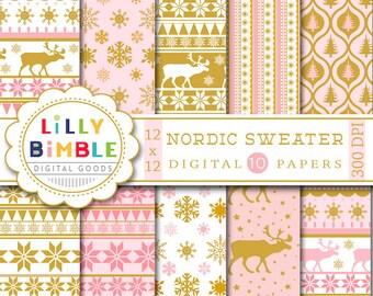 40% off Nordic Sweater Christmas digital scrapbook paper, scandinavian, champagne pink, gold, reindeer, Instant Download