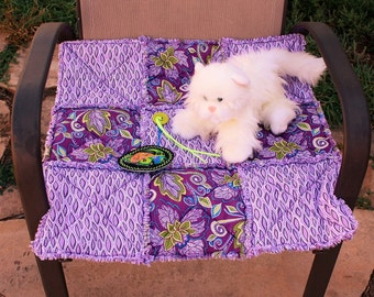 Cat Bed, Cat Blanket, Cat Quilt, Plum Pet Bed, Pet Bedding, Pet Accessories, Fabric Cat Blanket, Travel Pet Blanket, Pet Stroller Quilt