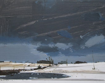 After the Ice Storm, Original Winter Landscape Collage Painting on Panel, Stooshinoff