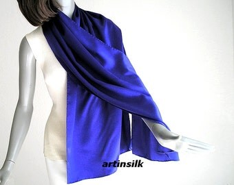 Blue Silk Charmeuse Shawl Ultramarine Coverup Wrap, Royal Blue Petite Shawl, Hand Hemmed, Unique Formal Evening Stole XS S M, Artinsilk.
