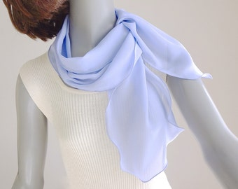 """Periwinkle Blue Scarf, Pale Lavender Scarf, Hyacinth Scarf, Pure Silk Chiffon, Unique Hand Dyed, Petite Scarf, XS S M 8""""x44', Ready to Ship."""