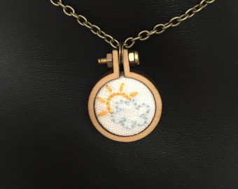 """Sunny Day 1"""" Embroidered Hoop Necklace with Chain"""
