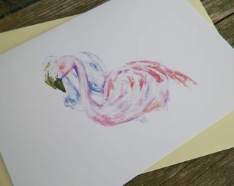 Flamingo Greeeting Cards Stationery Blank Art Printed Cards Pink Flamingos Announcement
