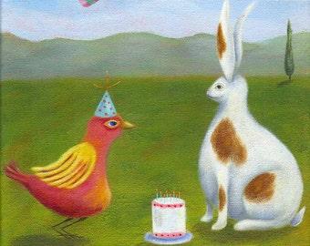 Artwork for Kids, Birthday Print, Rabbit Illustration, Whimsical Print, Children's Room, Nursery Decor, Spotted Rabbit, Bumble Bee, Fun Art