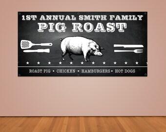 Pig Roast Party Banner (Custom 2ft x 4ft Vinyl Banner)