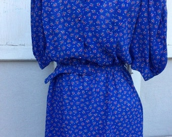40% FLASH SALE- Retro Eighties Dress-Secretary Style- Blue Floral