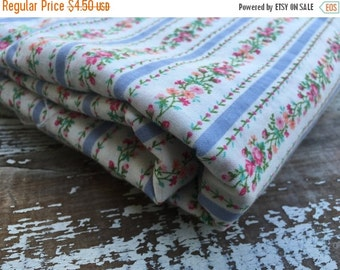 40% FLASH SALE- Floral Striped Fabric-Cotton Pillow Ticking Look
