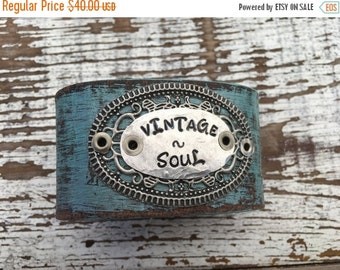 40% FLASH SALE- Stamped Leather Cuff-Vintage Soul-Word Cuff-