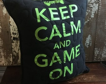 30%OFF SUPER SALE- Gamer Throw Pillow-Gamer-Stay Calm- Iconic--Upcycled Eco Friendly-Quilted