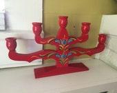 Swedish Folk Art Candelabra / Red Colorful / Souvenir / Wood / Large