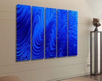 Contemporary Wall Sculpture, Blue Multi Panel Wall Art, Huge Indoor Outdoor Metal Wall Art Painting - Blue Hypnotic Sands Epic by Jon allen