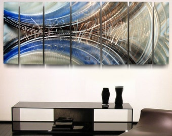 Extra Large Modern Metal Wall Art in Blue, Silver & Charcoal, Abstract Multi Panel Wall Painting Home Decor - Eccentricity XL Jon Allen