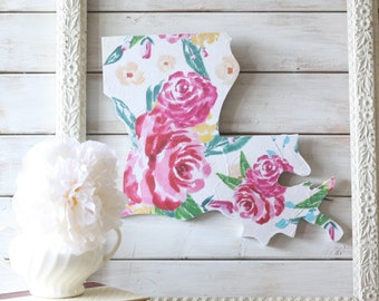 Louisiana State Home Sign. Louisiana Home Sign. Louisiana Art. pink floral home decor. pink home decor. Housewarming Gift. Louisiana