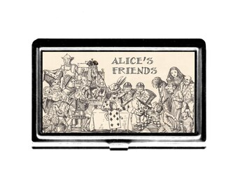 Business Card Case Alices Friends Credit Card Holder stainless steel metal card case metal wallet classic literature