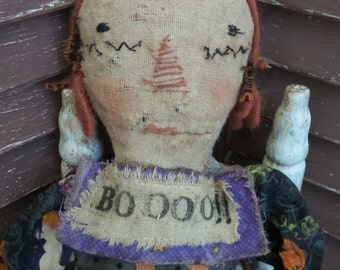 VERY Primitive, Raggedy Ann, Halloween, Spooky, Scary, Antique, TeamHAHA, Hafair, Pumpkin, Cat, Ghost, Skeleton, Old Cloth, Antique, Vintage