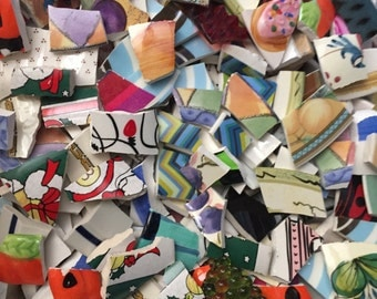 Mosaic Supplies Tiles Broken Plates Tesserae Art Hand Cut HUGE 1500 Piece Lot Mix Retro Artsy Set lot 1