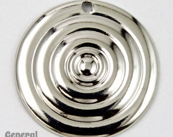 20mm Silver Circle with Concentric Pattern (4 Pcs)  #5502