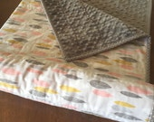 Grey Quilted Modern Minky Baby Blanket in Leaf Line Up