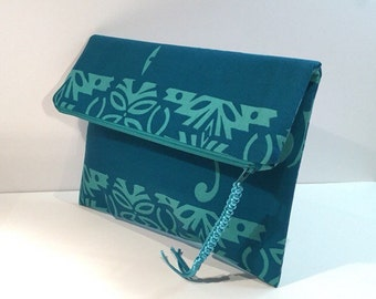 Fold over clutch / Teal and turquoise cotton Alfred Shaheen fabric clutch, envelope clutch, zippered clutch, zipper case, evening bag