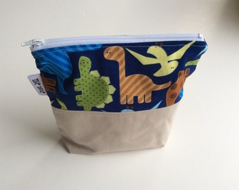 SNACK BAG - DINOSAURS - Eco-Friendly - Reusable Zipper Bag - Sandwich Snack Bag - Cotton + Twill - Gusset Bottom - Kids - Lunch