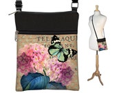 Cottage Chic Small Crossbody Hipster Bag, Floral Cross Body Shoulder Bag,  eReader Case Cover, pink purple Hydrangea, Blue Butterfly RTS