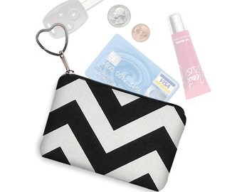 CLEARANCE Small Zipper Pouch Black Chevron Pattern Coin Purse Keychain  Change Purse  Business Card Holder Purse Organizer black white RTS