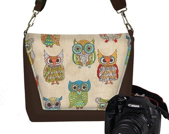 CLEARANCE Cute Owl Camera Case DSLR Camera Bag Purse Womens Messenger Bag, Nikon Camera Bag, Canon Camera Bag, brown, colorful  MTO